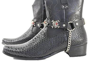 the best attitude f6e55 535f9 Trendy Fashion Jewelry TFJ Men Biker Boot Bracelets Black Leather Straps  Silver Skeleton Pirates Skulls Motorcycle Style