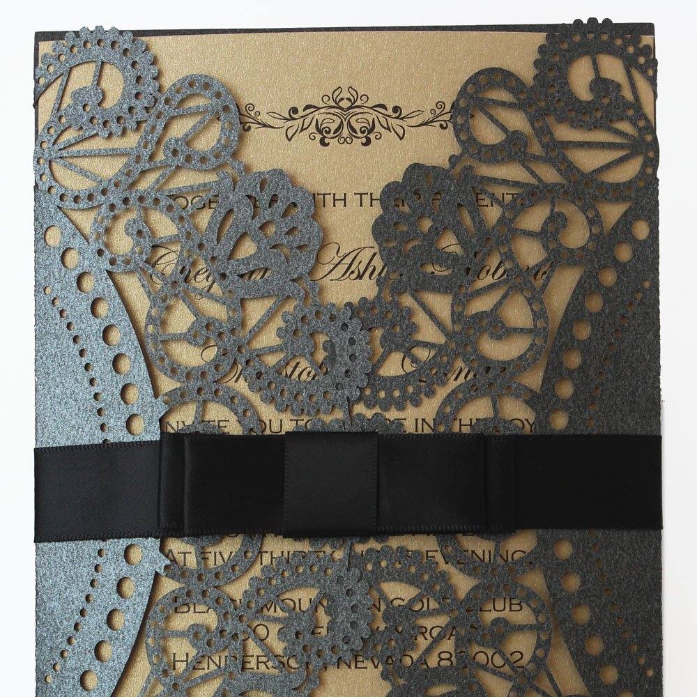 Amazon Com Luxurious Wedding Invitation Card Black And