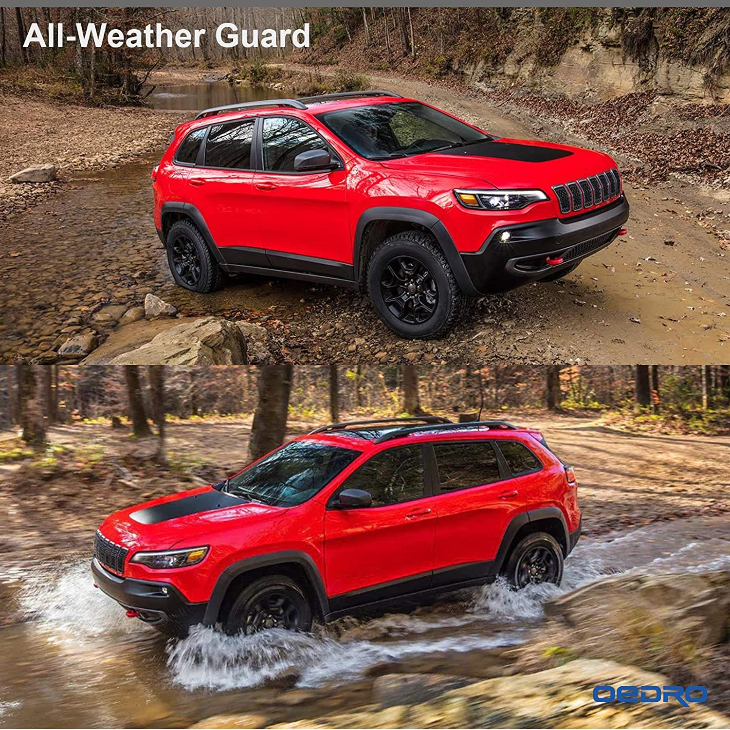 oEdRo Floor Mats Compatible for 2015-2019 Jeep Cherokee Not for Grand Cherokee Black TPE All-Weather Guard 1st and 2nd Row Liners