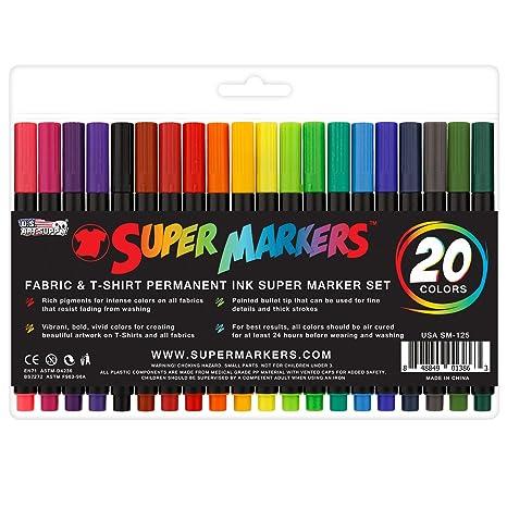 Amazon Com Super Markers 20 Color Premium Fabric T Shirt Marker