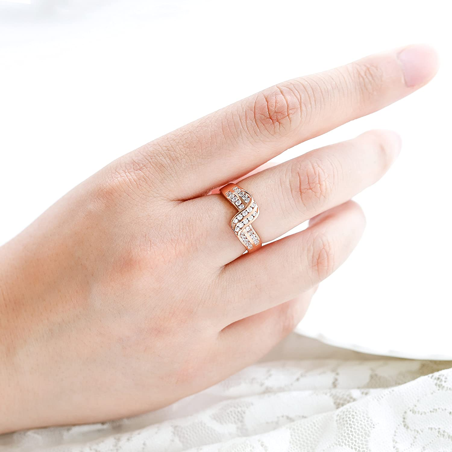 7f532ba87 Amazon.com: Barogirl Twist Ring Engagement Ring for Women Women's Rings for  Lovers YR919 (7, Rose-gold): Beauty