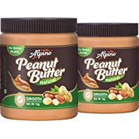 Alpino Natural Peanut Butter Smooth 2kg (Unsweetened / Gluten Free / Non-GMO) (1kg Pack of 2)