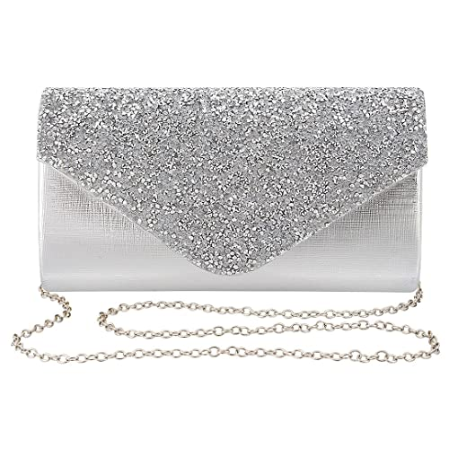 ccf5642afa4 Gabrine Womens Evening Bag Handbag Clutch Purse Rhinestone-Studded Flap for  Wedding Party Prom(