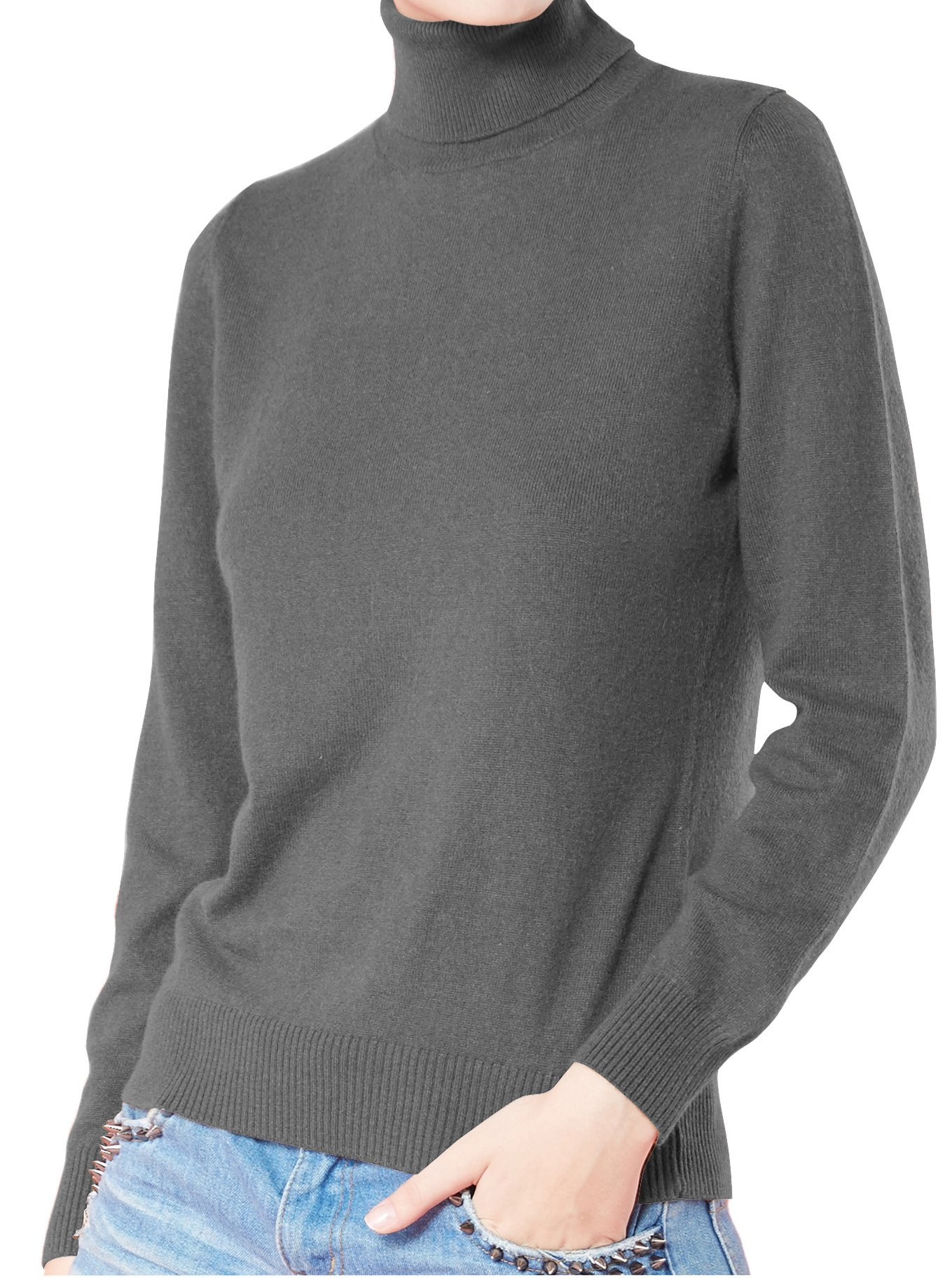 LONGMING Women's Long Sleeve Sweater (Medium, Dark Grey)