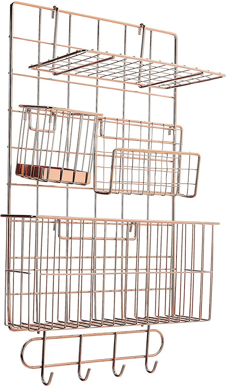AmazonBasics Wall Wire Grid Panel, 6-Piece Set, Rose Gold