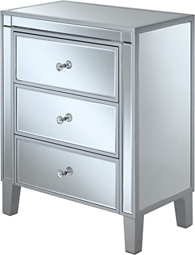 Convenience Concepts Gold Coast 3-Drawer End Table, Silver Mirror