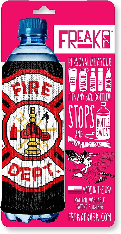 FREAKER Fits Every Bottle Can Beverage Insulator, Stops Bottle Sweat, Fireman Firemen Badge