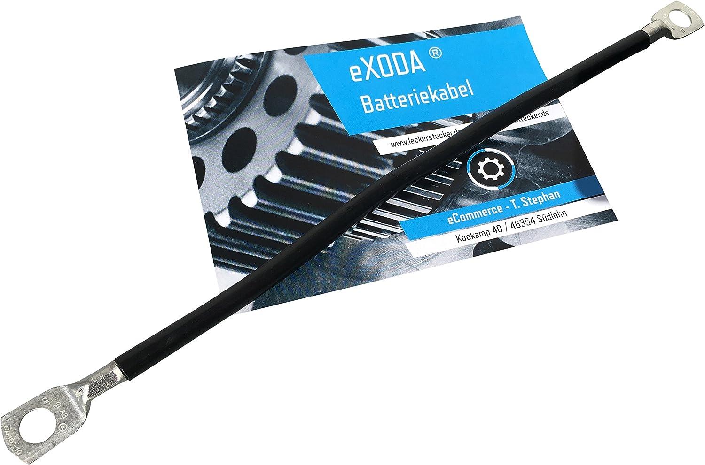 eXODA C/âble de Batterie 30cm c/âble dalimentation en cuivre 14 mm/² avec cosses /à /œillets M6 Noir 12V c/âble de Voiture