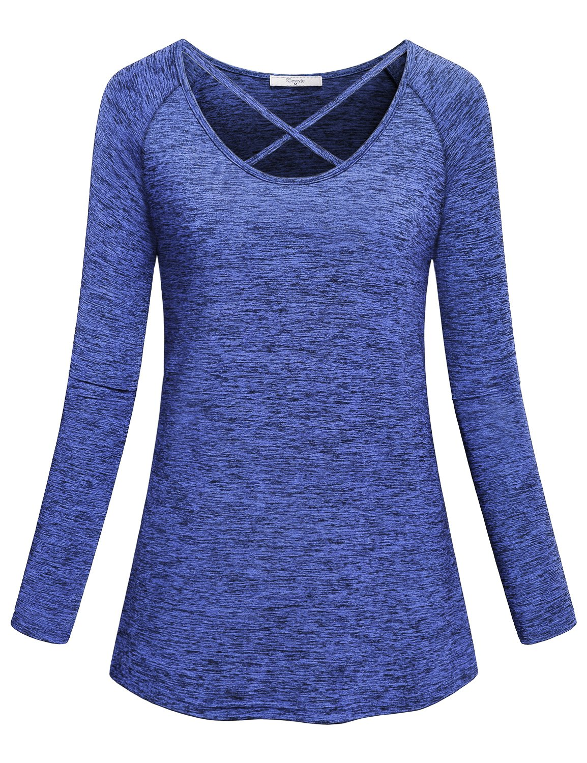 Cestyle Wicking Shirt Women,Ladies Cruise Crew Neck Long Sleeve Criss Cross Tunic Tees Athletic Bodybuilding Heathered Moisture Wicking Tops Activewear Loose Fit Clothes Blue XX-Large