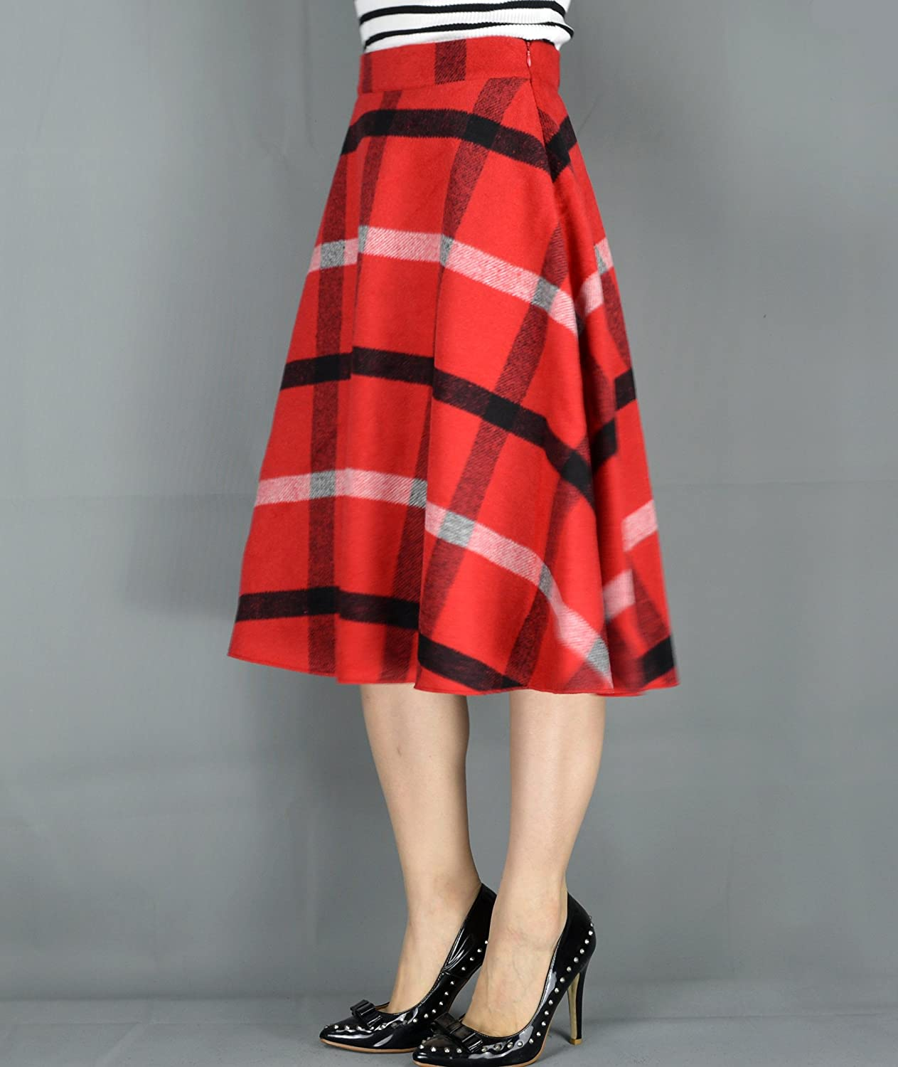 Retro Skirts: Vintage, Pencil, Circle, & Plus Sizes YSJERA Womens Wool Midi Skirt A-Line Pleated Vintage Plaid Winter Swing Skirts $25.99 AT vintagedancer.com