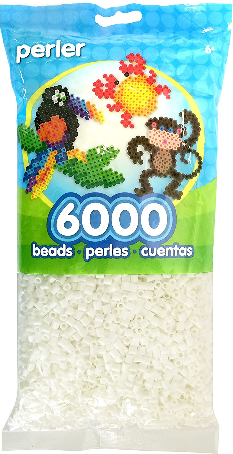 Perler Beads Fuse Beads for Crafts, 6000pcs, White