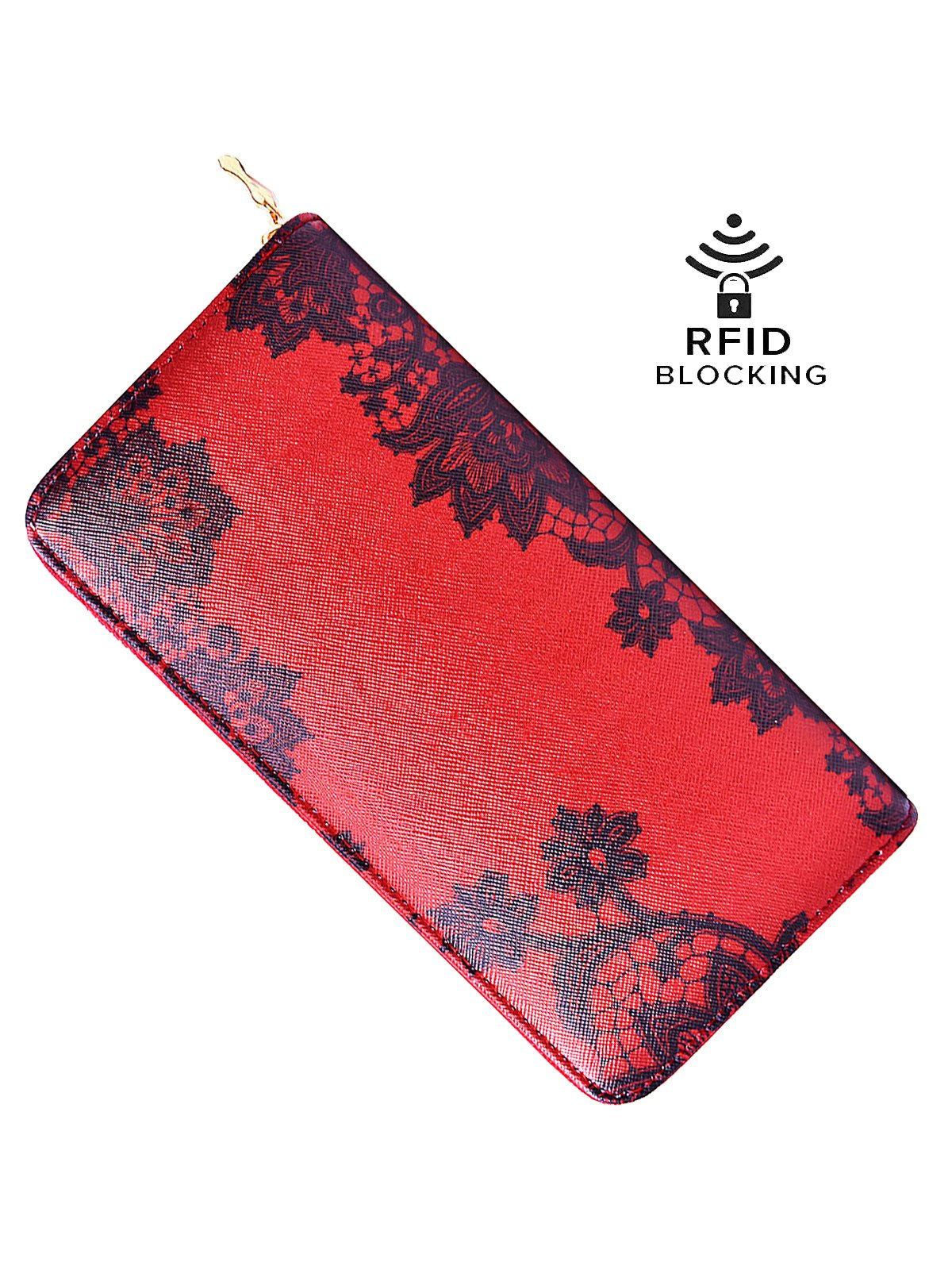 Red Wallet Womens Fashion Lace Style Clutch Long Purse Elegant Sexy Handbag Clutch Multi Card Organizer -Laimi Duo (MAROON-LACEWORK) by Laimi Duo