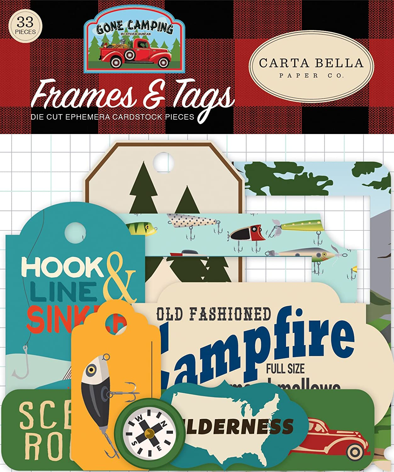 Carta Bella Paper Company CBGC85025 Gone Camping Frames & Tags Ephemera die Cut, Blue, Forest Green, red, Brown Echo Park Paper Company