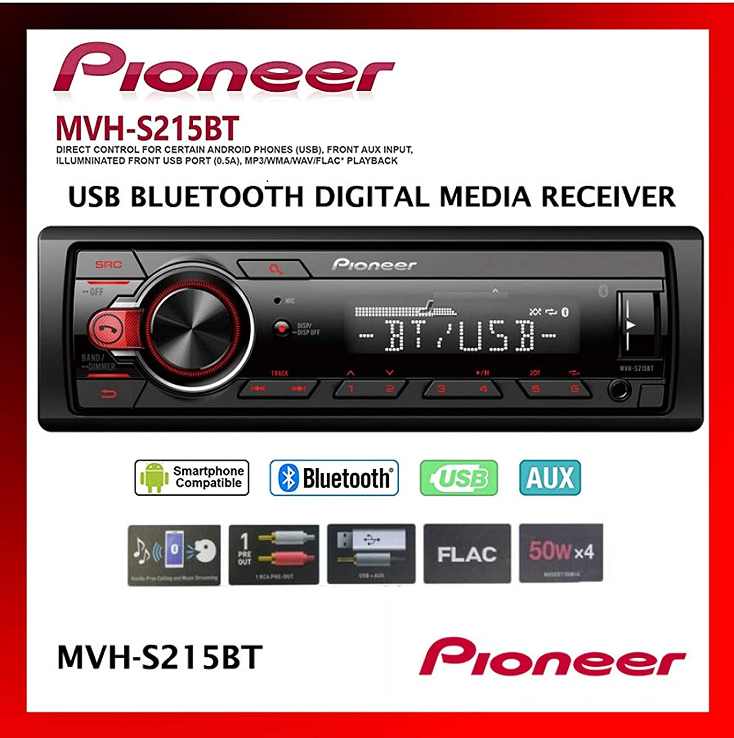Pioneer Single Din Built-In Bluetooth, MIXTRAX, USB, Auxiliary, Pandora, Spotify, iPhone, Android and Smart Sync App Compatibility Car Digital Media Receiver / Includes Alphasonik Earbuds