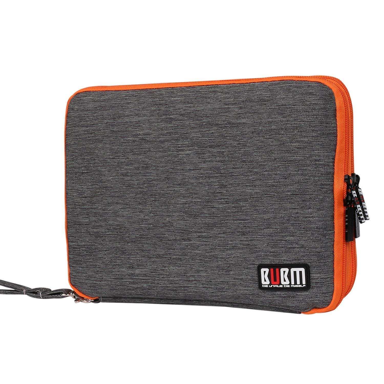 BUBM Organizador de Accesorios Eléctrica Estuche para Guardar Cables Memorias USB Bolsa con Cremallera para iPad Bolso de Doble Capas, Rosa y gris Damai bubm06003UK