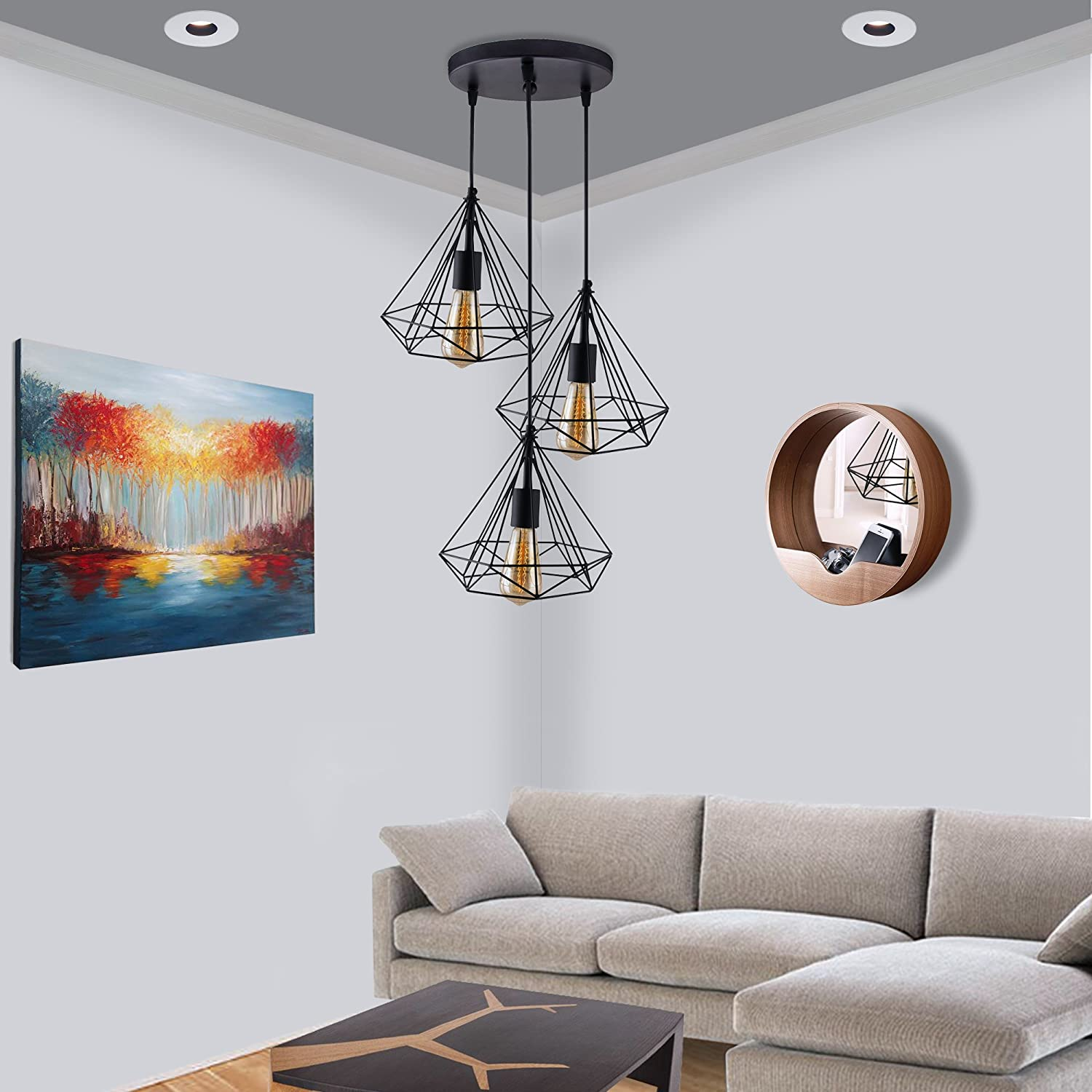 Homesake 3-Lights Round Cluster Chandelier Black Diamond Hanging Pendant Light with Braided Cord