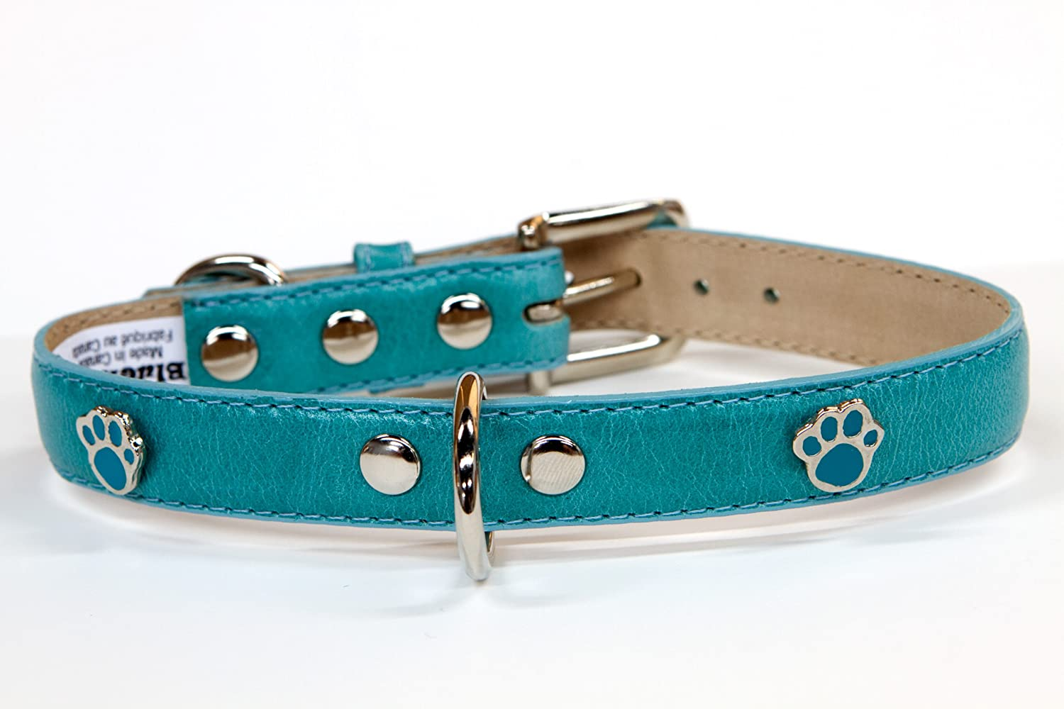 blueemax Genuine Leather Vintage Cow Dog Collar with Paw Stud, 5 8-Inch by 10-Inch, Turquoise