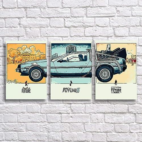 DeLorean Wall Art Prints Set x 3