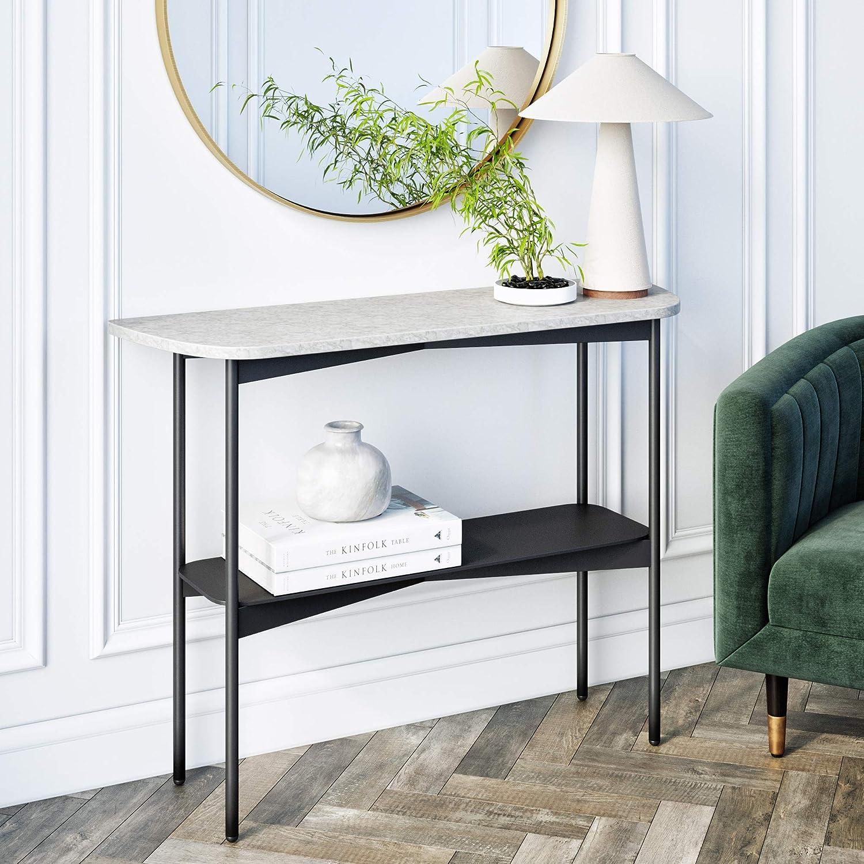 Amazon Com Nathan James Jasmine Modern Sofa Entryway Faux Marble Console Narrow Metal Frame Foyer Or Hallway Table Black Furniture Decor