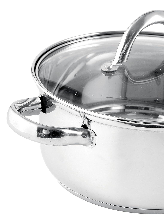 Quid Ottawa - Batería de cocina de 8 piezas, con tapas de vidrio, acero inoxidable: Amazon.es: Hogar