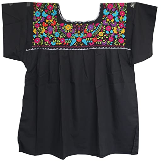 Plus Size 2 Xl Embroidered Mexican Peasant Blouse Black At Amazon
