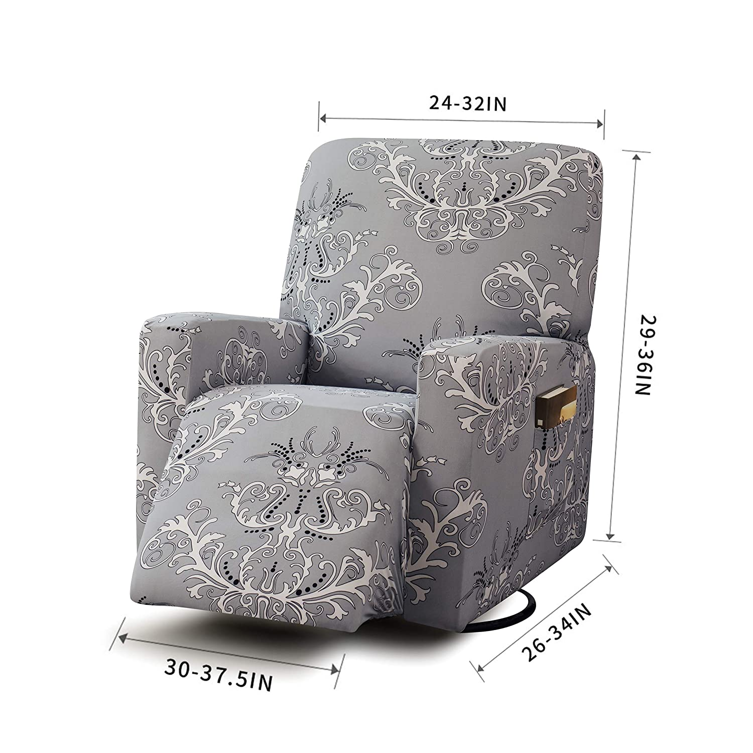 Amaranth Print TIKAMI Stretch Recliner Chair Covers Washable Sofa Slipcovers Furniture Protector with Pocket for Pets and Kids