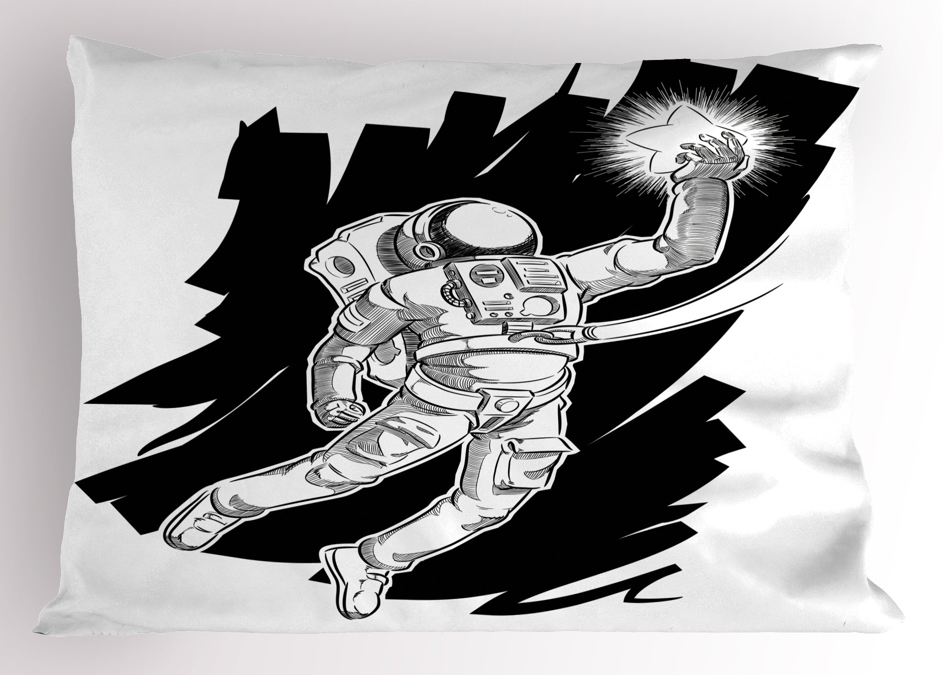Ambesonne Astronaut Pillow Sham, Sketch of Spaceman Grabbing a Star Achivement Discovery Zero Gravity Technology, Decorative Standard Queen Size Printed Pillowcase, 30 X 20 inches, Black White