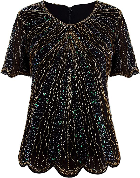1920s Style Blouses, Shirts, Sweaters, Cardigans VIJIV Womens 1920s Vintage Beaded Evening Top Art Deco Scalloped Hem Sequin Embellished Blouse Tunic $37.99 AT vintagedancer.com