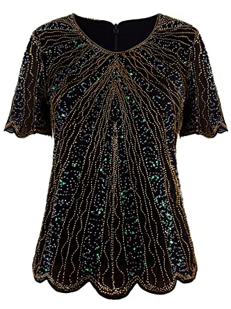 910e3150a4b VIJIV Women's 1920s Vintage Black Gold Beaded Tops Flapper Evening Top  Roaring 20s Sequin Great Gatsby