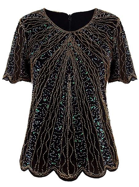 Amazon.com: VIJIV - Blusa de lentejuelas para mujer, estilo ...