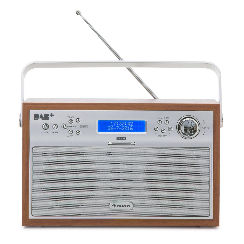 Auna acorde Digital Radio - Radio (sintonizador DAB +/FM con RDS, portátil, 20 emisoras, función alarma/despertador, pantalla LCD, nogal): Amazon.es: ...