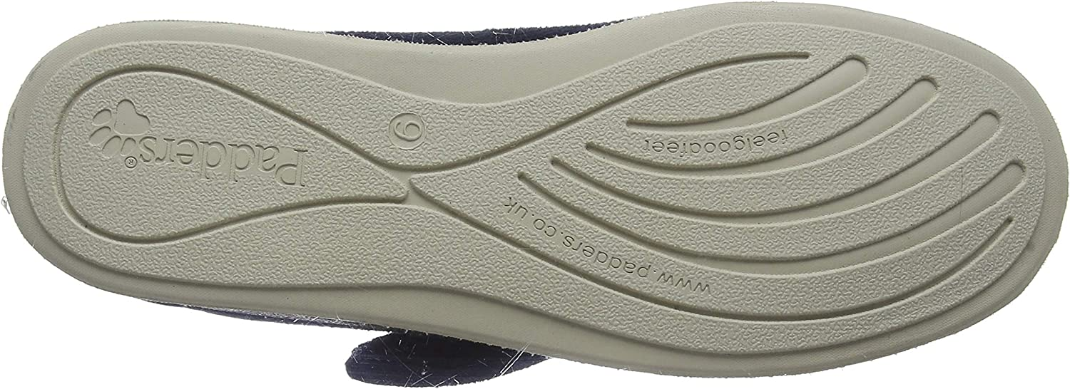 Padders SILENT Womens Ladies Extra Wide EE Fit Touch Close Slippers Boots Navy