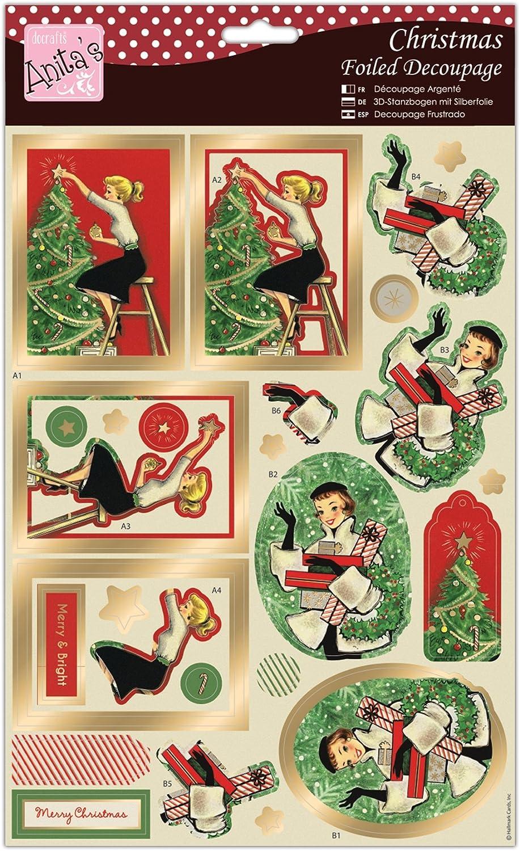 12 HALLMARK~CHRISTMAS~A4~THE CHRISTMAS TREE~FOILED DECOUPAGE SHEET~CARDS~CRAFT~