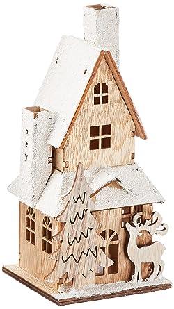 Heitmann Deco Dekoratives Holzhaus Mit LED Beleuchtung   Naturbelassenes Holz  Mit Beschneitem Dach   Weihnachtsdeko