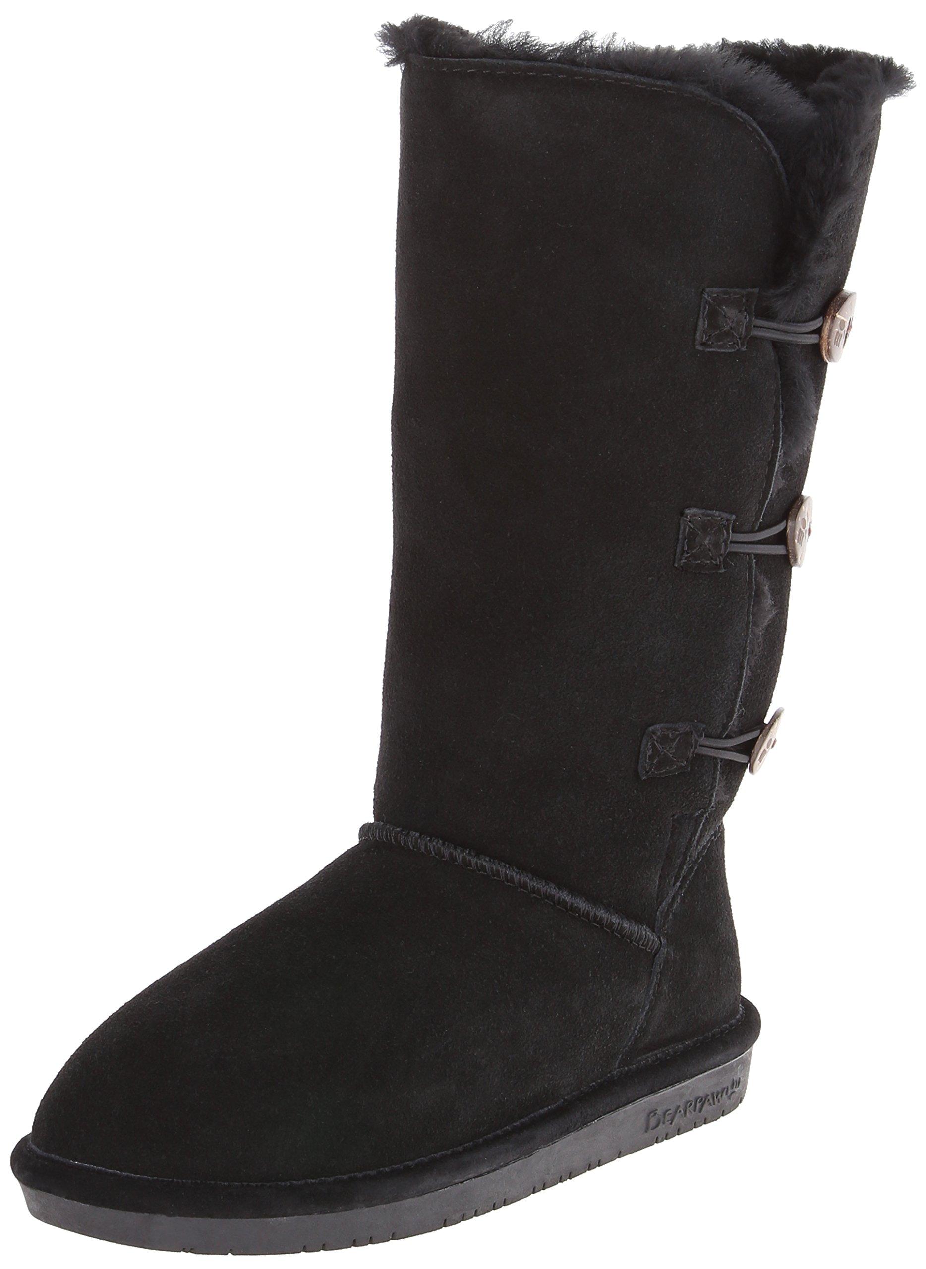 BEARPAW Women's Lauren Tall Winter Boot, Black II, 7 M US