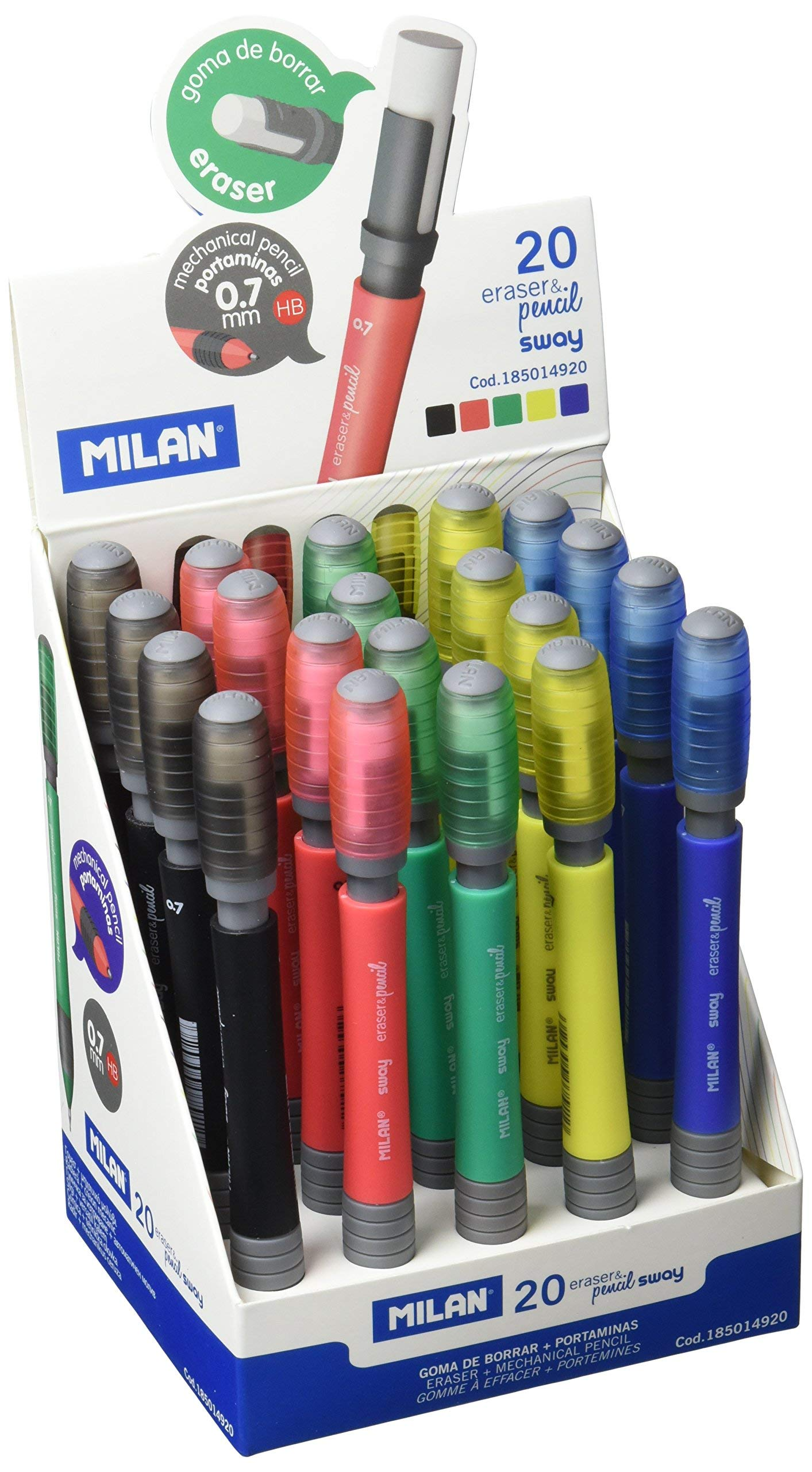 Milan Sway 185014920-Mechanical Pencil, Pack of 20, Multi-Colour