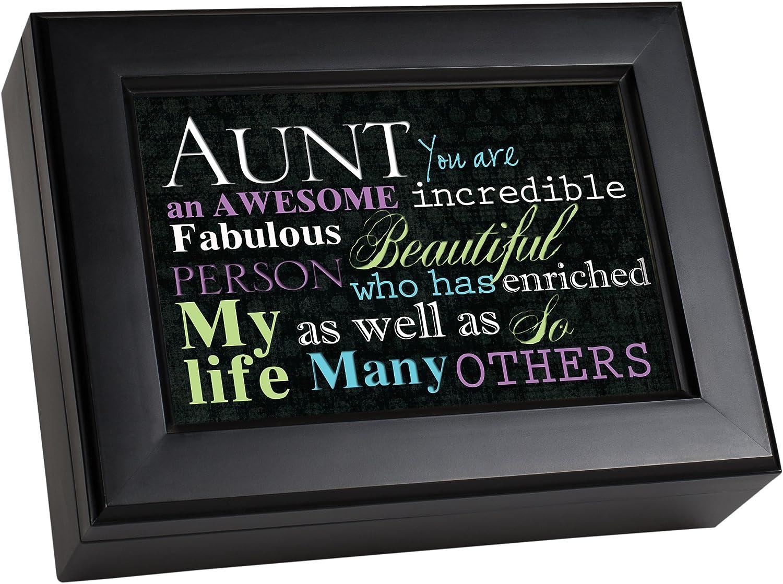 Cottage Garden Aunt Awesome Increadible Fabulous Matte Black Jewelry Music Box Plays Wonderful World