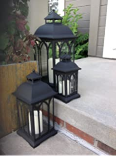 Amazon set of 3 indoor or outdoor lanterns with candles black set of 3 indoor or outdoor metal lanterns black aloadofball Image collections