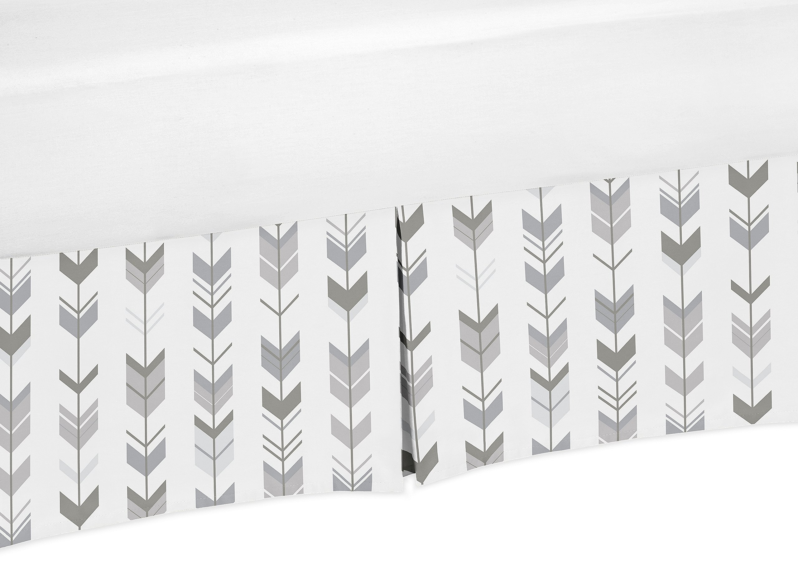 Sweet Jojo Designs Grey and White Boy or Girl Unisex Pleated Crib Bed Skirt Dust Ruffle for Woodland Arrow Collection by Sweet Jojo Designs