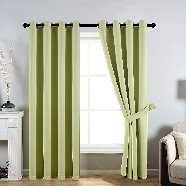 """CC&DD HOME FASHION Fbm-Sfs Curtains, 2 x 52 W x 95"""" L, Green"""