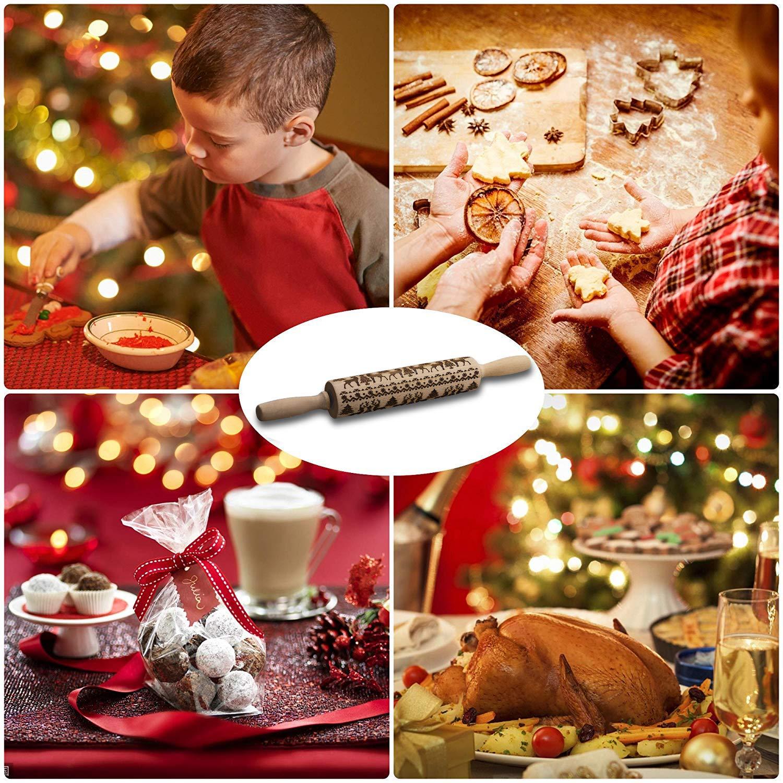 Galletas Perfuw Pizza Masa 14 x 18 cm Mango de f/ácil Agarre para Navidad Pasteles Rodillo de Madera de Cachemira para Hornear sin Cera