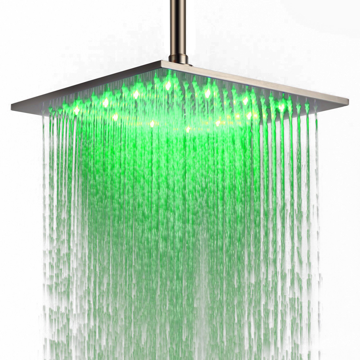 JinYuZe Luxury 12'' Large Square Stainless Steel LED Rainfall Shower Head for Bathrooms