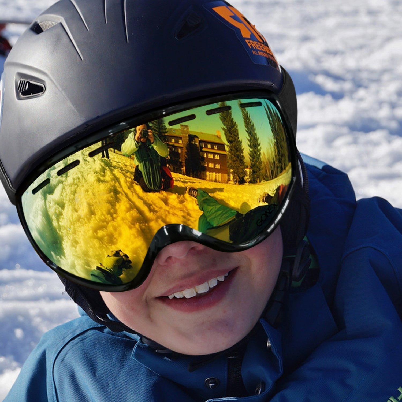 e28f1727a8b2 Gonex Kids Ski Goggles Anti Fog Snow Board Goggoles for Youth Children  Toddler (Black)  Amazon.ca  Sports   Outdoors