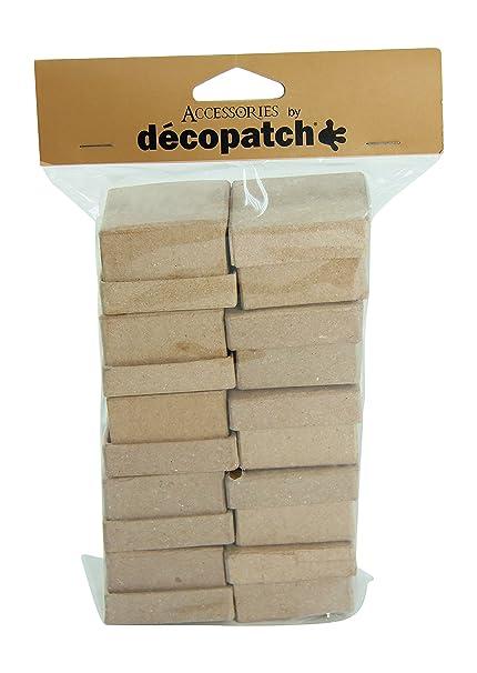 Decopatch Papel maché Cuadrado Cajas, 10 Unidades, marrón