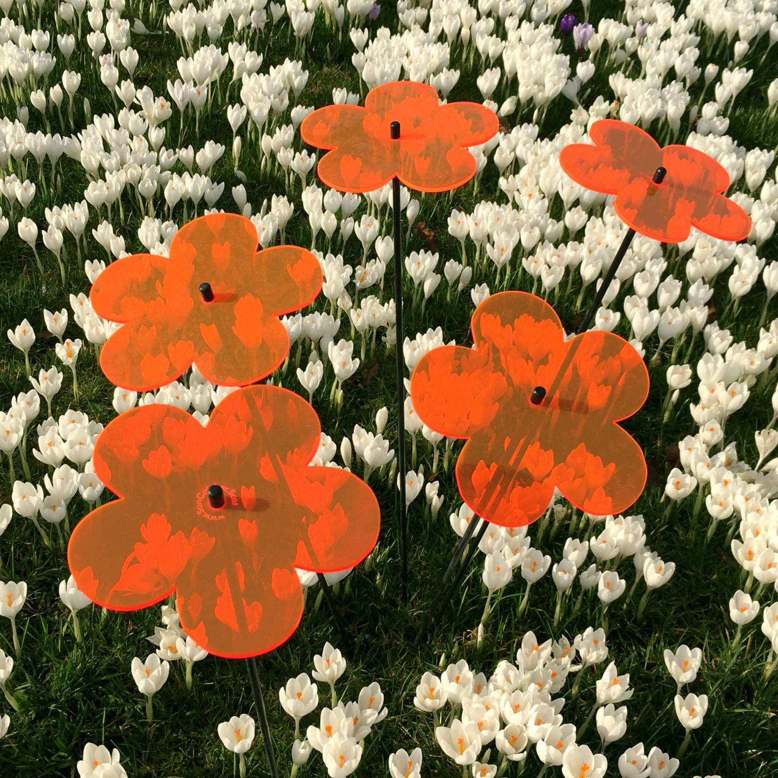 Suncatcher Set of 5: Blossom | 150mm / 5,9'' Ø Fluorescent Garden Ornament | Glowing Garden Decoration on Stick | Innovative Home Decor for Outdoor Garden Balcony Pathway Patio, Colour:Orange