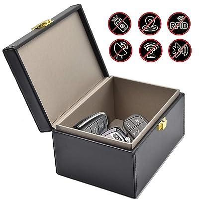 Todoxi Faraday Box Car Key Fob Protector RFID Box for Keys Large PU Leather RFID Signal Blocking Car Security Proection Box: Car Electronics