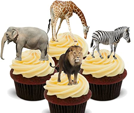 Kitchen, Dining & Bar Classic Jungle Animals Edible Cupcake Toppers Decoration