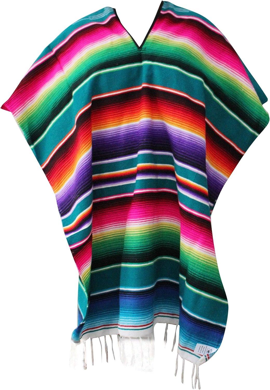 Green Del Mex Mexican Serape Poncho Pancho Adult Costume