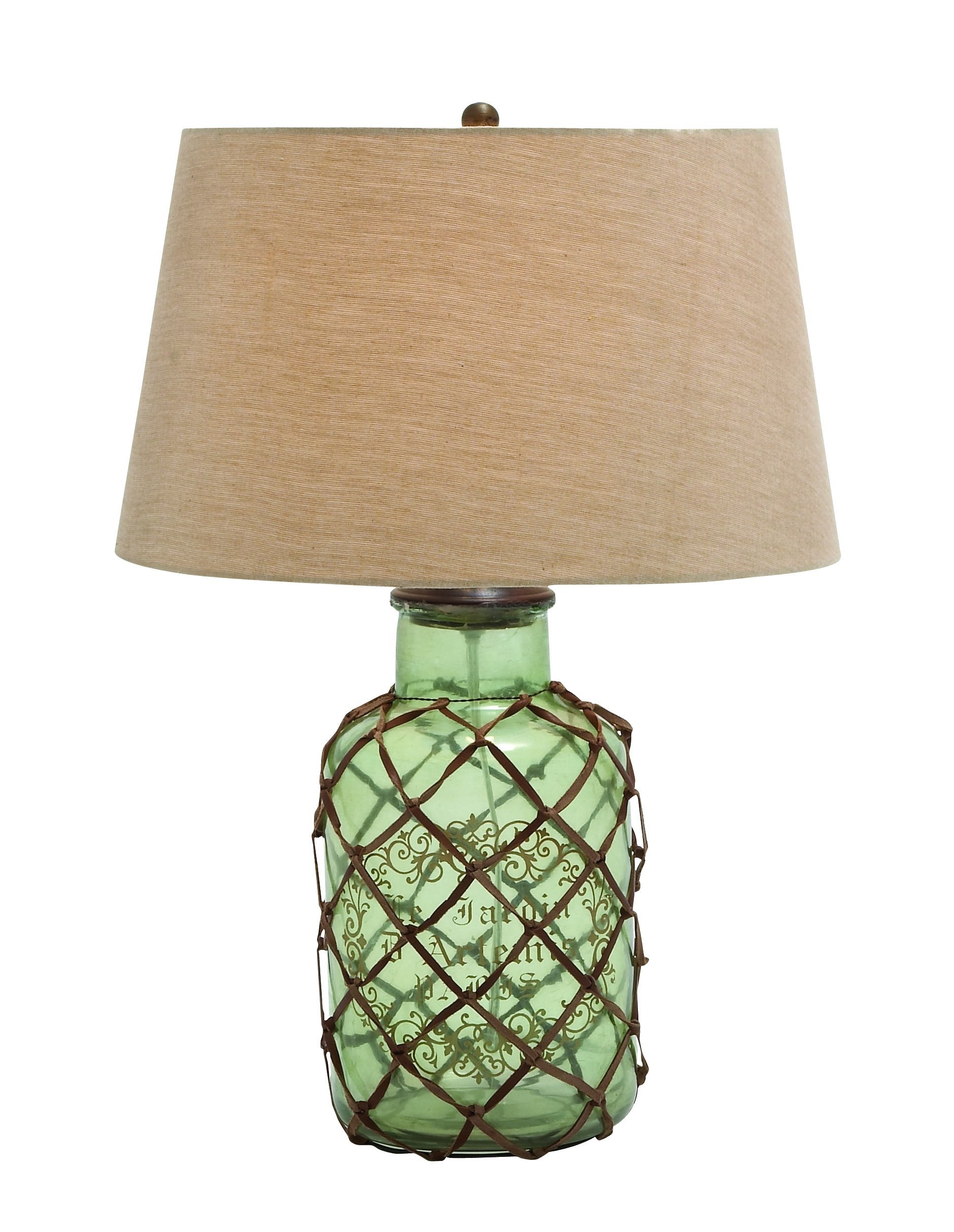 Benzara Translucent Glass Table Lamp with Netted Leather