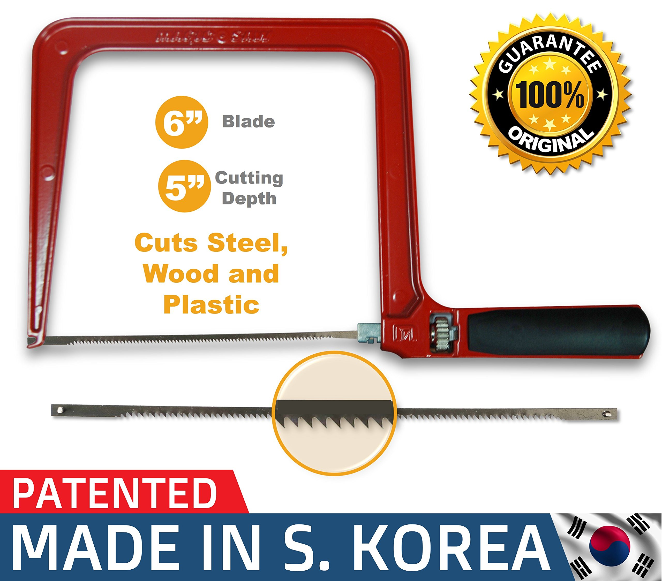 Original Magic Coping Saw with 6 inch High Carbon Steel Pins Blades, a Heavy Duty H shape Metal Frame Works as Fret Saw, Hacksaw, and Pruning Saw & Suitable to Cut Wood, Plastic, PVC, Aluminum, Nails by Amazing Tools (Image #1)